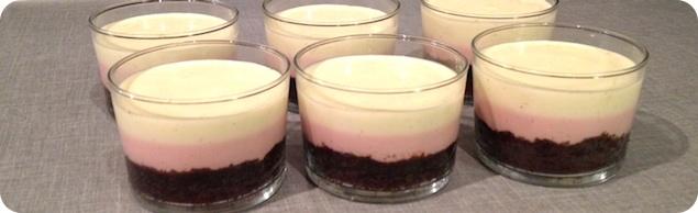 Hallon- och vaniljpannacotta på browniebotten