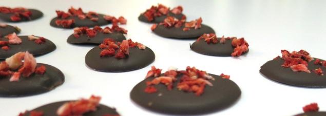 Choklad med torkad jordgubb